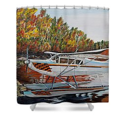 Shower Curtain featuring the painting Aeronca Super Chief 0290 by Marilyn  McNish