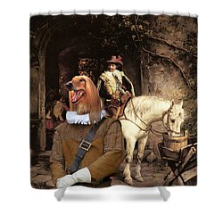 Afghan Hound-at The Tavern Canvas Fine Art Print Shower Curtain
