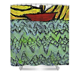 Afloat On The Bubbling Sea Shower Curtain by Wayne Potrafka