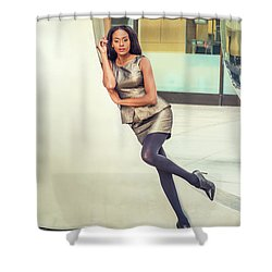 African American Business Woman Fashion In New York Shower Curtain