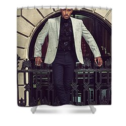 African American Businessman Working In New York Shower Curtain