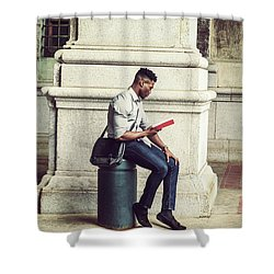African American College Student Studying In New York Shower Curtain