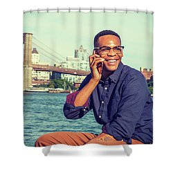 African American Man Traveling In New York Shower Curtain
