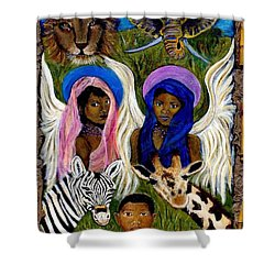 African Angels Shower Curtain by The Art With A Heart By Charlotte Phillips
