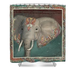 Shower Curtain featuring the painting African Bull Elephant - Kashmir Paisley Tribal Pattern Safari Home Decor by Audrey Jeanne Roberts