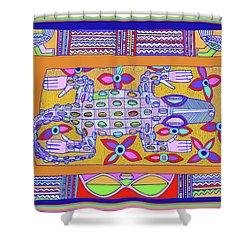 Shower Curtain featuring the digital art African Croc Beach Bum by Vagabond Folk Art - Virginia Vivier