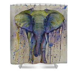 African Elephant Abstract Style Shower Curtain by Kelly Mills