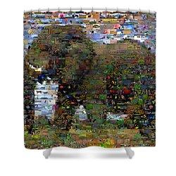 Shower Curtain featuring the mixed media African Elephant Wild Animal Mosaic by Paul Van Scott