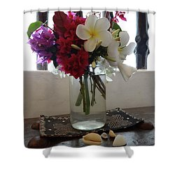 African Flowers And Shells Shower Curtain
