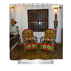 African Interior Design 5 Beaded Chairs Shower Curtain