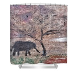African Landscape Baby Elephant And Banya Tree At Watering Hole With Mountain And Sunset Grasses Shr Shower Curtain by MendyZ