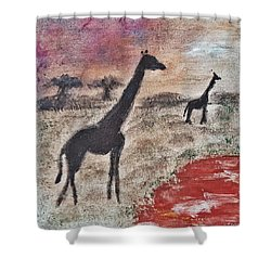 African Landscape Giraffe And Banya Tree At Watering Hole With Mountain And Sunset Grasses Shrubs Sa Shower Curtain by MendyZ
