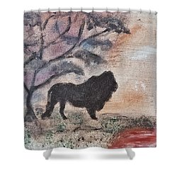 African Landscape Lion And Banya Tree At Watering Hole With Mountain And Sunset Grasses Shrubs Safar Shower Curtain by MendyZ