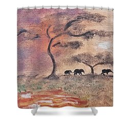 African Landscape Three Elephants And Banya Tree At Watering Hole With Mountain And Sunset Grasses S Shower Curtain by MendyZ