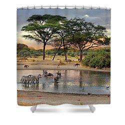African Safari Wildlife At The Waterhole Shower Curtain