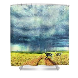 African Storm Shower Curtain by Tilly Willis