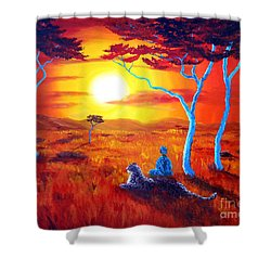 African Sunset Meditation Shower Curtain