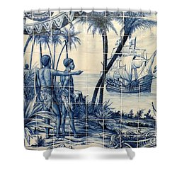 African Tile Art Shower Curtain