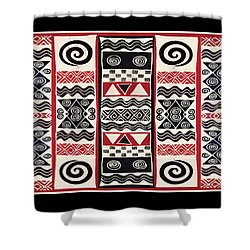 African Tribal Ritual Design Shower Curtain by Vagabond Folk Art - Virginia Vivier