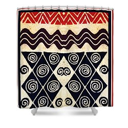 African Tribal Textile Design Shower Curtain by Vagabond Folk Art - Virginia Vivier