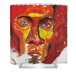 Shower Curtain featuring the painting Afro by Shungaboy X