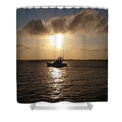 Shower Curtain featuring the photograph After A Long Day Of Fishing by Robert Banach
