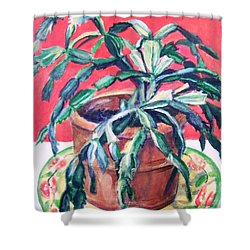 Shower Curtain featuring the painting Christmas Cactus by Laura Aceto