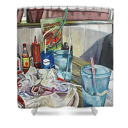 After Lunch Shower Curtain by Stephanie Come-Ryker