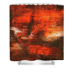 After Midnight - Black Orange And White Contemporary Abstract Art Shower Curtain