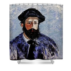 After Monet-self Portrait With A Beret  Shower Curtain by Cristina Mihailescu