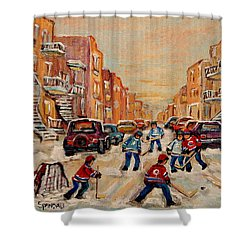 Shower Curtain featuring the painting After School Hockey Game by Carole Spandau