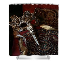 After The Ball - Venetian Mask Shower Curtain by Yvonne Wright