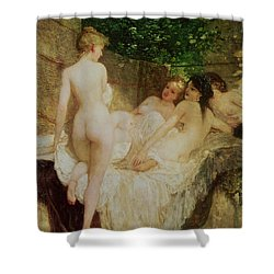 After The Bath Shower Curtain by Karoly Lotz