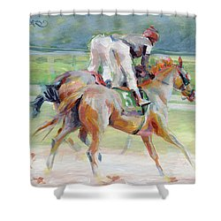 After The Finish Shower Curtain by Kimberly Santini