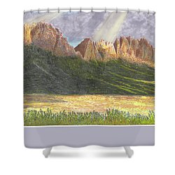 After The Monsoon Organ Mountains Shower Curtain by Jack Pumphrey