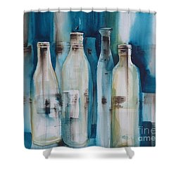 After The Party Shower Curtain by Donna Acheson-Juillet