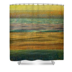 Shower Curtain featuring the photograph After The Sunset - Yellow Sky by Michelle Calkins