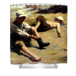 After The Swim Shower Curtain by Harold Harvey