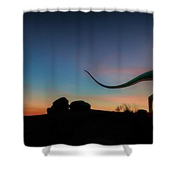 Afterglow Dinosaur Shower Curtain by Gary Warnimont