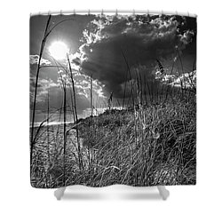 Shower Curtain featuring the photograph Afternoon At A Sanibel Dune In Blank And White by Chrystal Mimbs