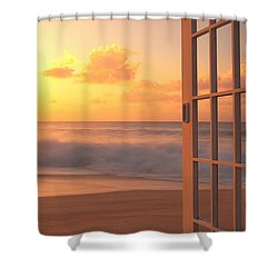 Afternoon Beach Scene Shower Curtain by Dana Edmunds - Printscapes