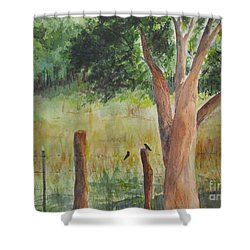 Shower Curtain featuring the painting Afternoon Chat by Vicki  Housel