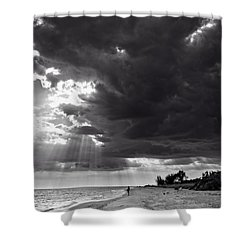 Afternoon Fishing On Sanibel Island In Black And White Shower Curtain