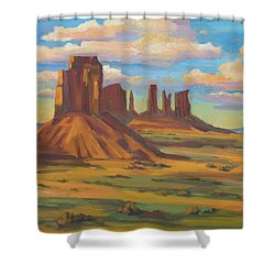 Shower Curtain featuring the painting Afternoon Light Monument Valley by Diane McClary