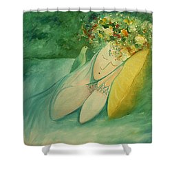 Shower Curtain featuring the painting Afternoon Nap In The Garden by Tone Aanderaa