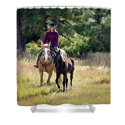 Afternoon Ride In The Sun - Cowgirl Riding Palomino Horse With Foal Shower Curtain by Nadja Rider
