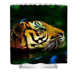 Afternoon Swim - Tiger Shower Curtain