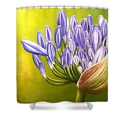 Shower Curtain featuring the painting Agapanthos by Natalia Tejera