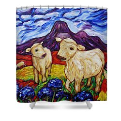 Shower Curtain featuring the painting Agapanthus Calves And Red Hot Pokers by Dianne  Connolly