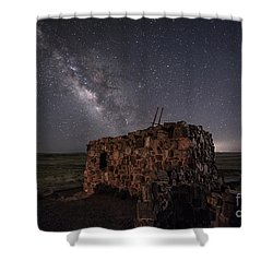 Agate House At Night Shower Curtain by Melany Sarafis